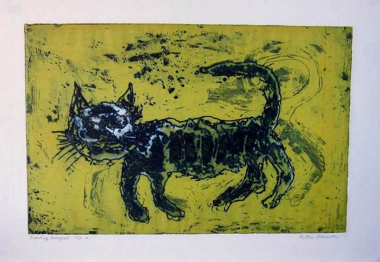 Prowling Pussycat an etching by the noted world-renowned Arthur Secunda