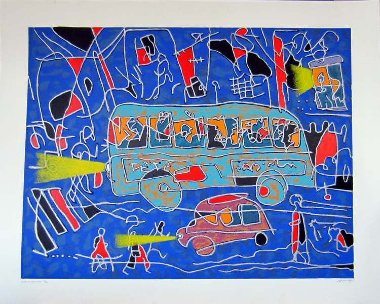 Blues in the Night a silkscreen print by Arthur Secunda