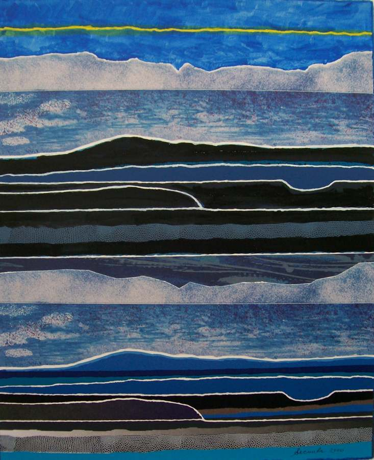 Quiet Nights a collage/monotype by the noted artist Arthur Secunda