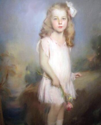 Something So Sweet, portrait of Jane Kaufman - a pastel painting by Artur Lajos Halmi