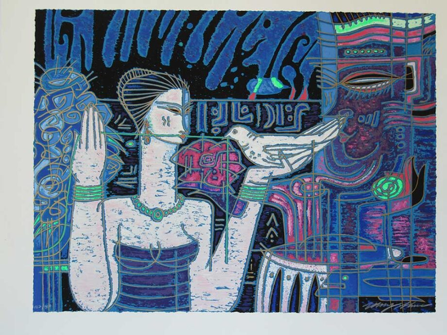 Adrian Wong Shue A serigraph Message on the Wind