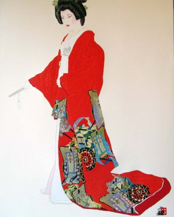 Hisashi Otsuka the renowned artist with the Hanayome Passion serigraph print on silk paper