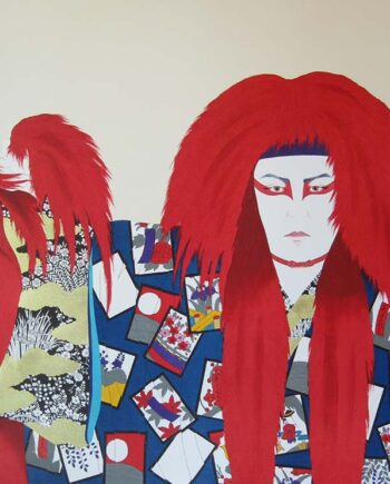 Hisashi Otsuka the renowned artist with the Lion of Fire serigraph print on silk paper