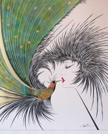 Hisashi Otsuka the renowned artist with the Royal Kiss serigraph print on silk paper