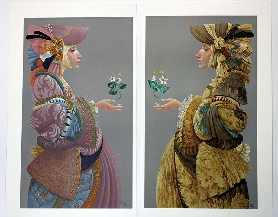 James C. Christensen limited edition color lithographs titled Two Sisters