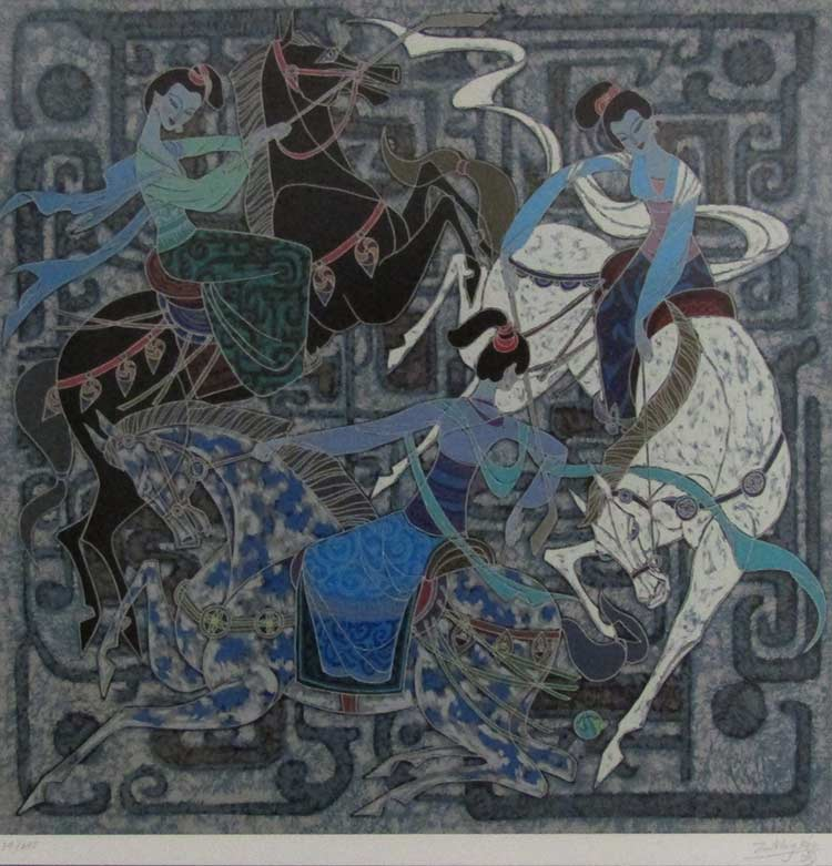 Three Dancing Horses a serigraph by Zu Ming Ho