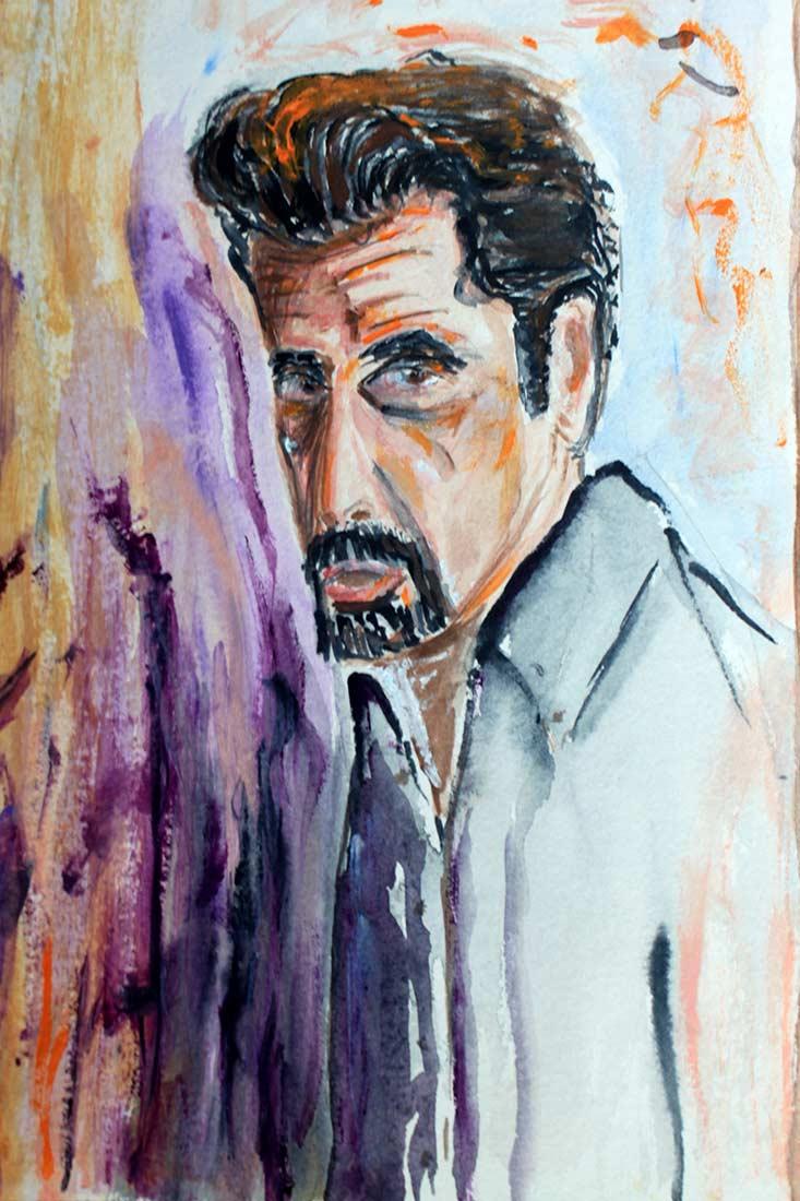 Al Pacino - Original Mixed-Media Painting by Peter Daniels