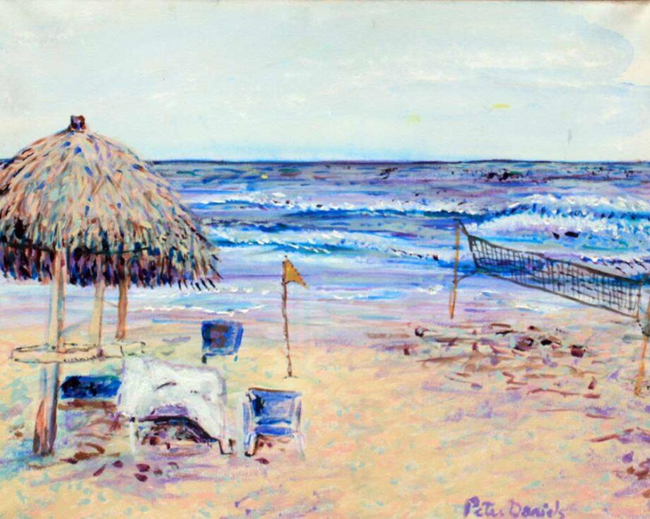 Beach Hut - Original Acrylic Painting by Peter Daniels