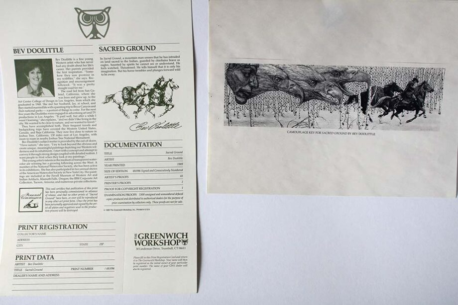 Bev Doolittle limited edition lithograph titled Sacred Ground