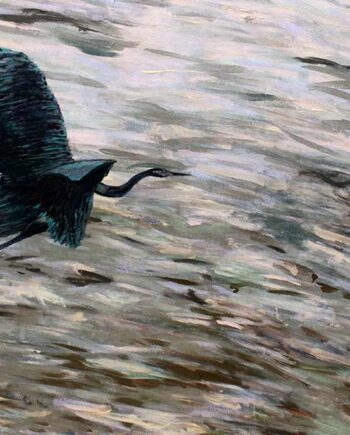 Blue Heron over the ocean - Original Acrylic Painting by Peter Daniels