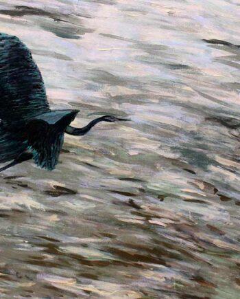 Blue Heron over the ocean - Original Acrylic Painting by Peter Daniels