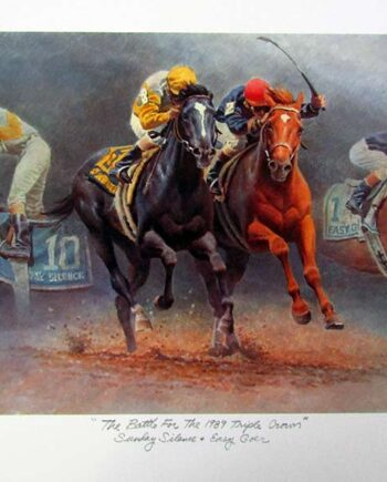 The Battle for the 1989 Triple Crown by Fred Stone a limited edition art print of Jockeys racing Thoroughbred Race Horses