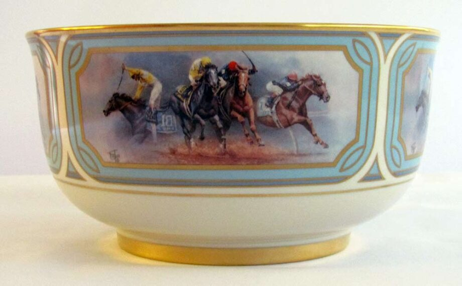 The Battle for the 1989 Triple Crown by Fred Stone porcelain bowl