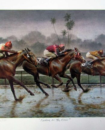 Riders of the Rain by Fred Stone a limited edition art print jockeys racing horses in the rain