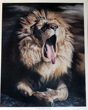 Even the Strong Get Tired by Gail Adams a limited edition Lion art print
