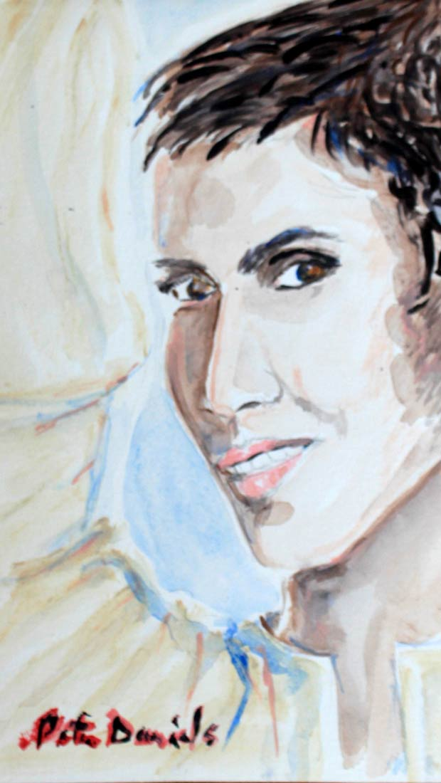 Halle Berry - Original Mixed-Media Painting by Peter Daniels