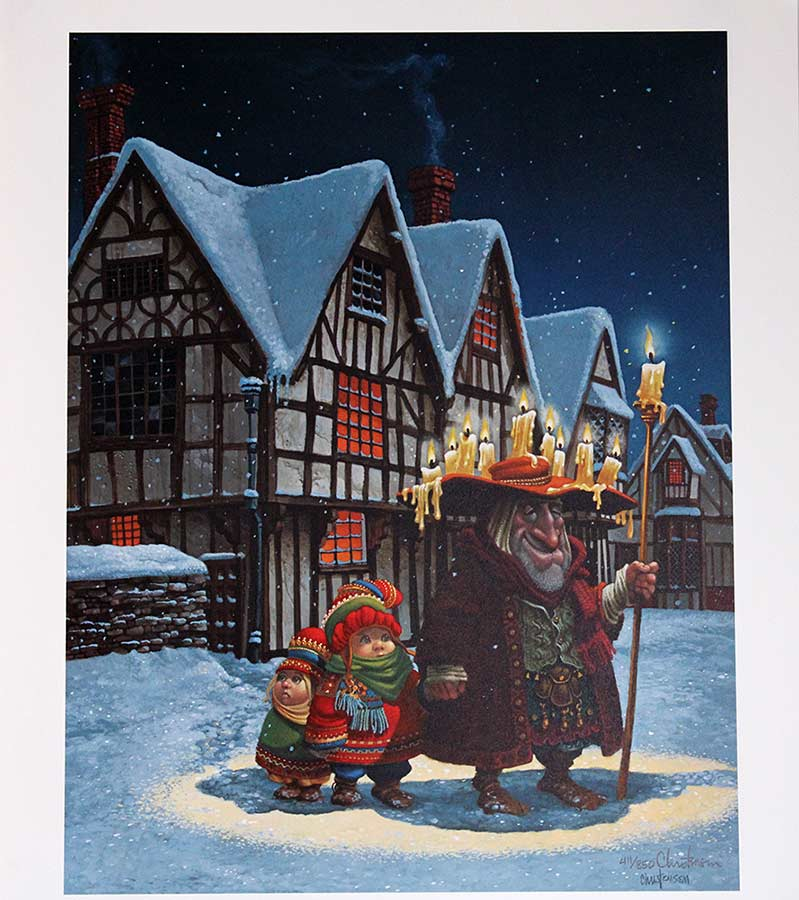 James C. Christensen limited edition color lithograph titled The Candleman
