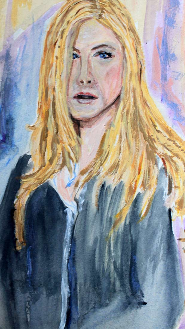 Jennifer Aniston - Original Mixed-Media Painting by Peter Daniels