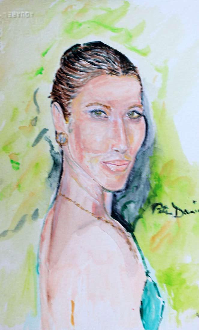 Jessica Biel - Original Mixed-Media Painting by Peter Daniels