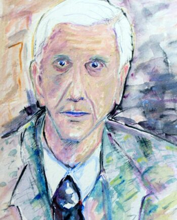 Leslie Nielson - Original Mixed-Media Painting by Peter Daniels