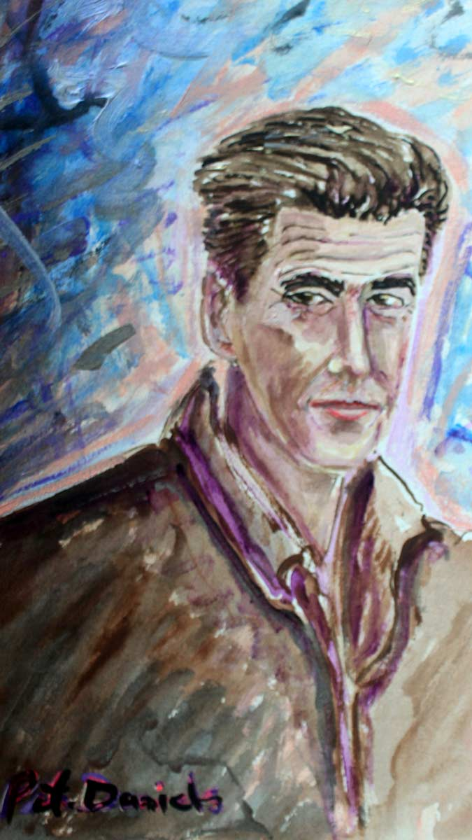 Pierce Brosnan - Original Mixed-Media Painting by Peter Daniels