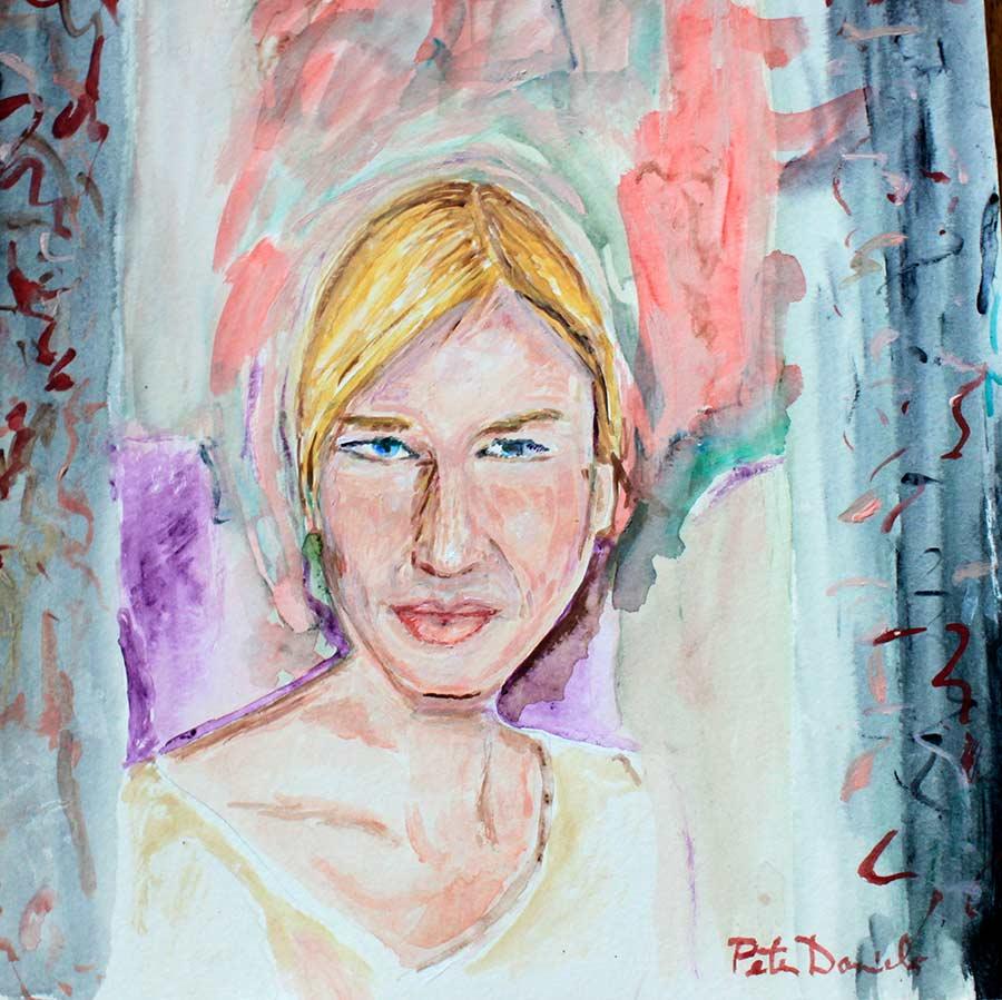 Rene Zwillinger - Original Mixed-Media Painting by Peter Daniels