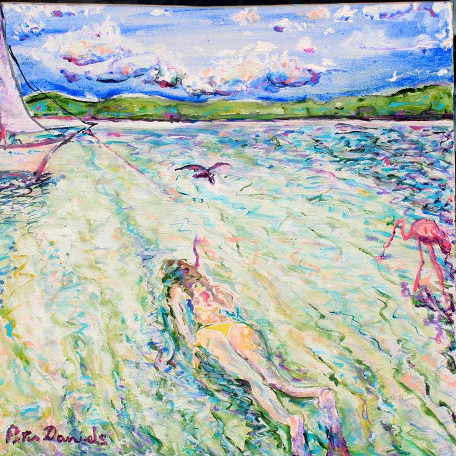 Snorkel - Original Acrylic Painting by Peter Daniels