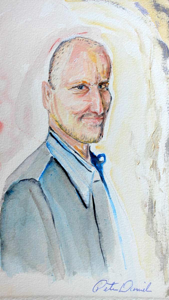 Woody Harrelson - Original Mixed-Media Painting by Peter Daniels