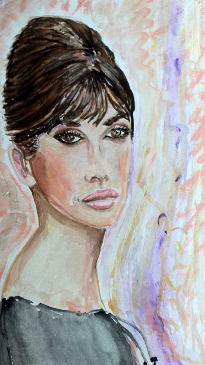 Young Penelope Cruz - Original Mixed-Media Painting by Peter Daniels