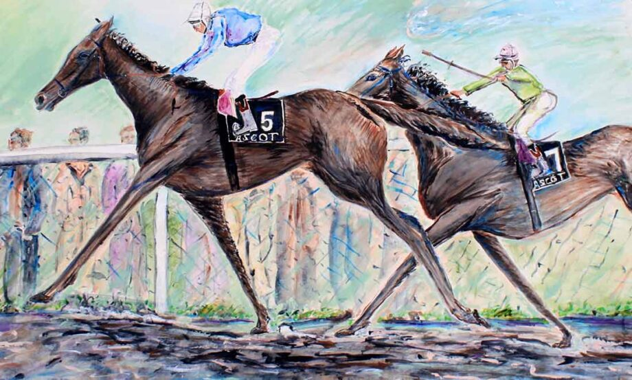 Race Horse Painting And they are off! Watercolor by Peter Daniels