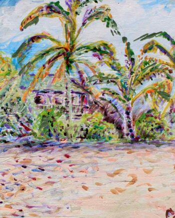 Hawaii, palms and beach - Original Acrylic Painting by Peter Daniels