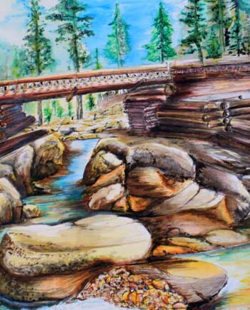 The Bridge. a watercolor painted by International Artist; Peter Daniels