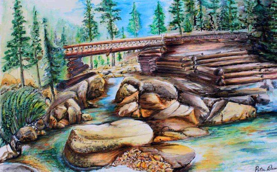 The Bridge. a watercolor painted by International Artist; Peter Daniels