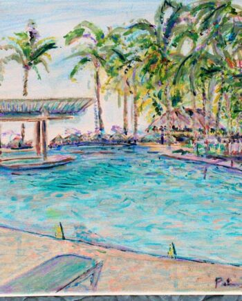 Poolside - Original Acrylic Painting by Peter Daniels