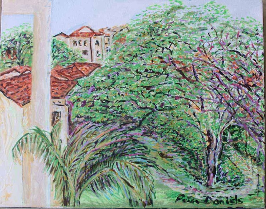 Roofs and Trees - Original Acrylic Painting by Peter Daniels
