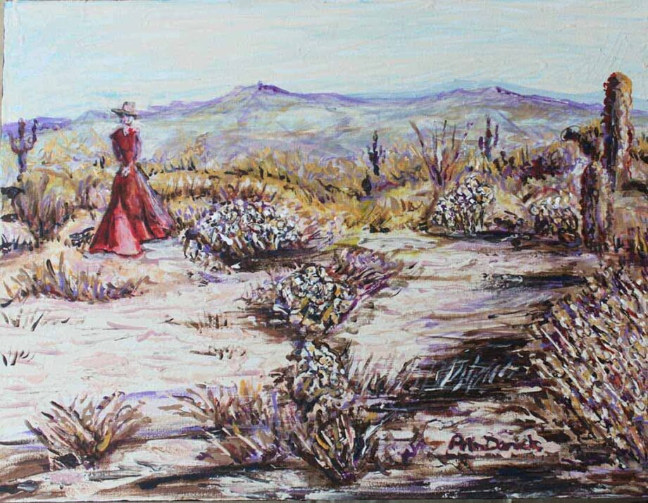 Woman in Red Dress - Original Acrylic Painting by Peter Daniels