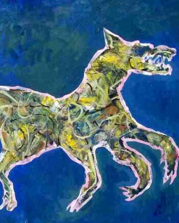 Dancing Wolf Growling a monotype by Arthur Secunda