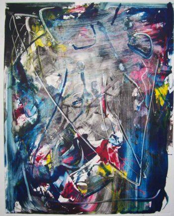 Blaue Blume a monotype print by international artist Arthur Secunda