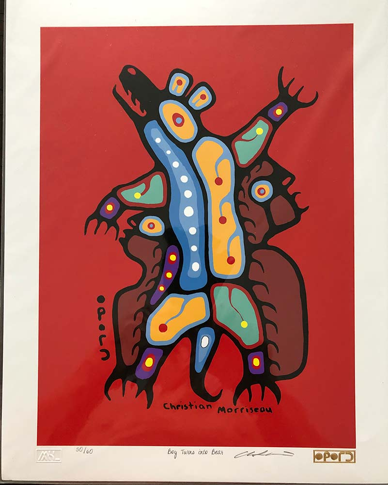Boy Turns Into Bear a limited edition print by Christian Morrisseau noted Native American Ojibwe Artist