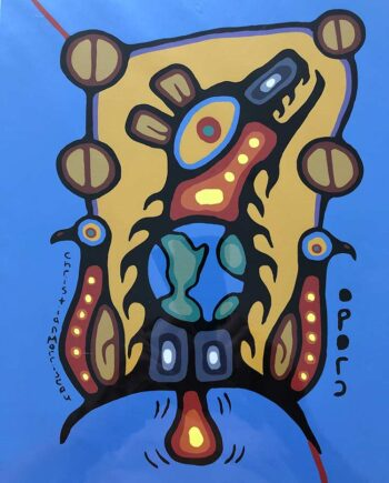 Bear Doctor Healing with Open Love a limited edition print by Christian Morrisseau noted Native American Ojibwe Artist