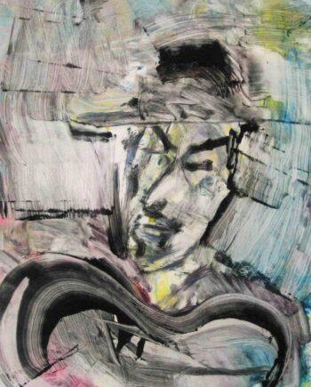 Django Reinhardt a monotype of the Jazz Suite of prints by Arthur Secunda