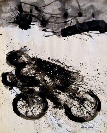 Biker a b&w wash WC by noted artist Arthur Secunda