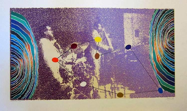 Constellations a silkscreen and mixed media print by international artist Arthur Secunda