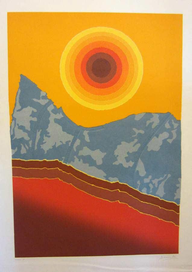 Corona a collagraph print by Arthur Secunda