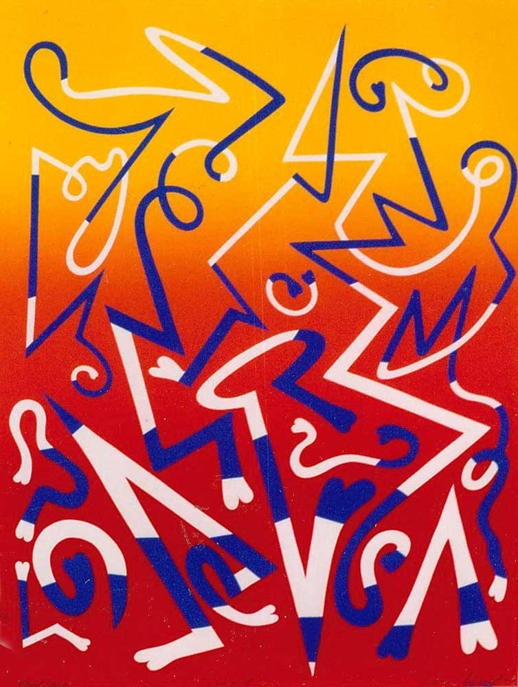 Fluid Drive a colorful serigraph (silkscreen) from 1968 by Arthur Secunda