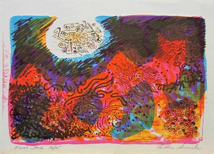 Nina's Stork a multi-litho print by Arthur Secunda