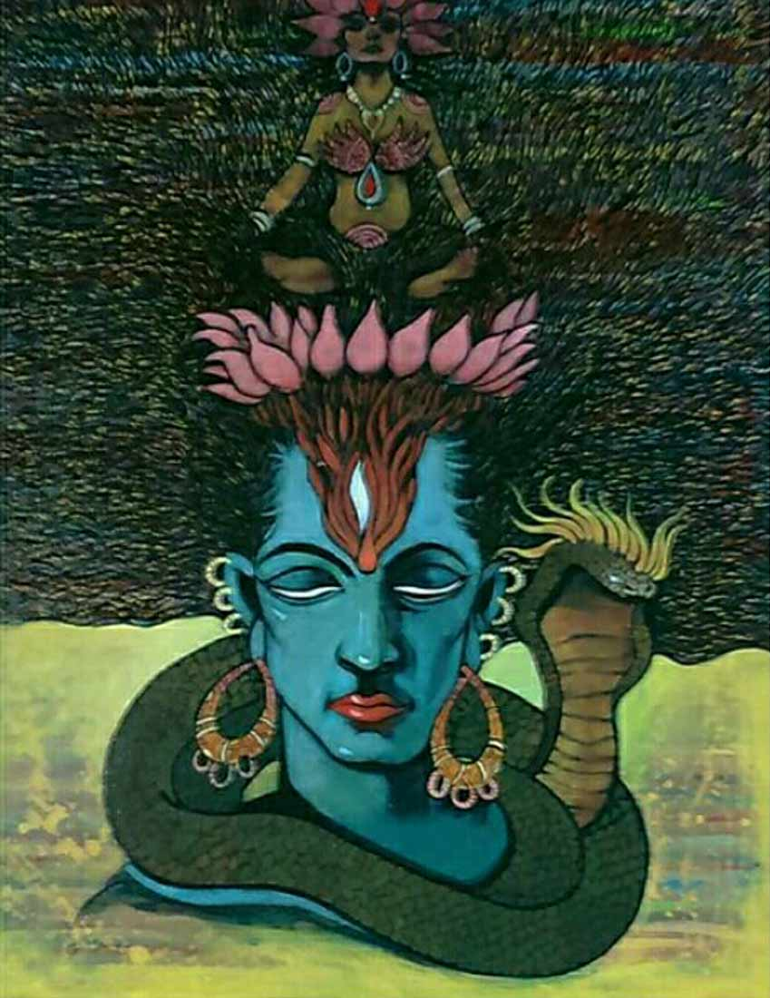 Silent shiva acrylic painting on canvas by Rahul Kamble