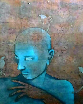 Untitled a mixed media painting by Rahul Kamble