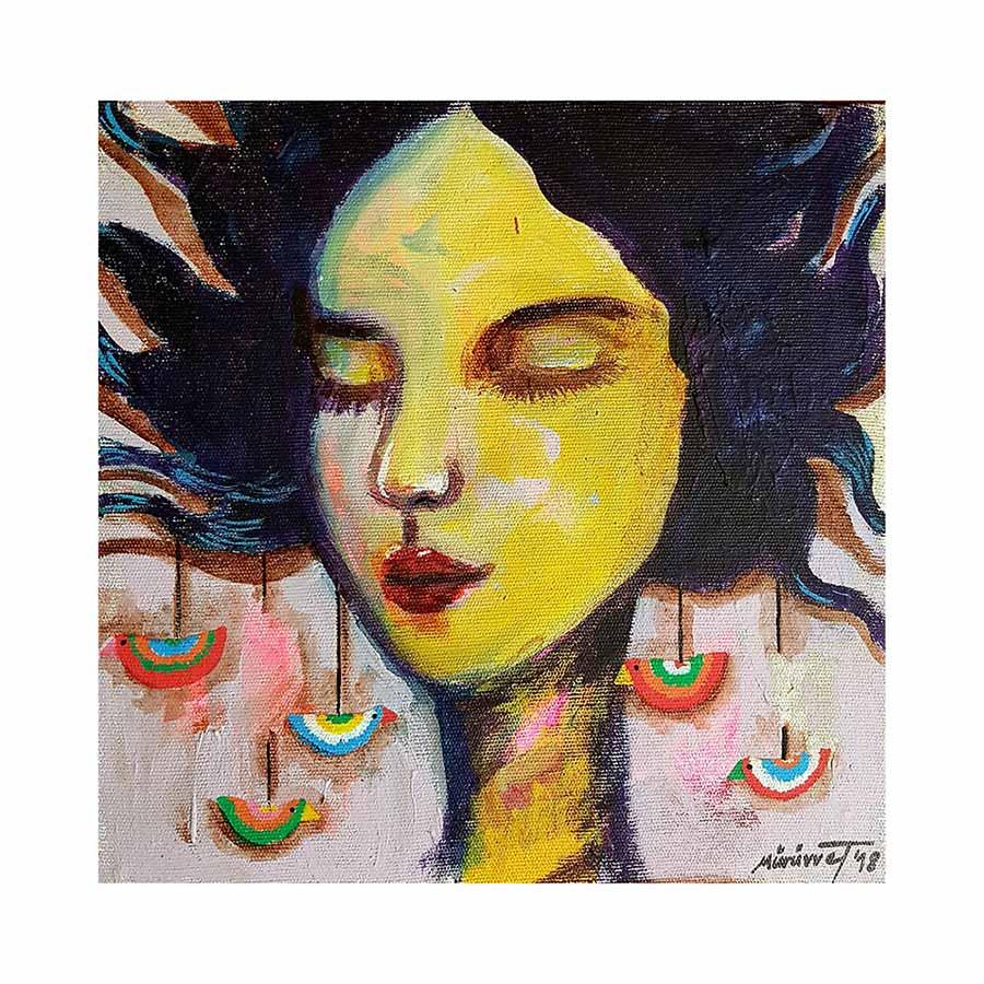 Amulets & Symbols No. 1 an acrylic art painting on canvas by Muruvvet Durak