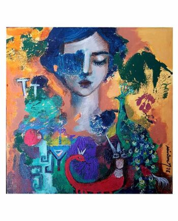 Amulets & Symbols No. 3 an acrylic art painting on canvas by Muruvvet Durak